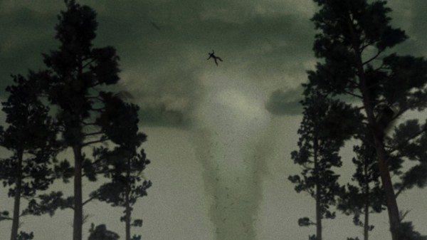 A screenshot showing a zombie in a tornado.