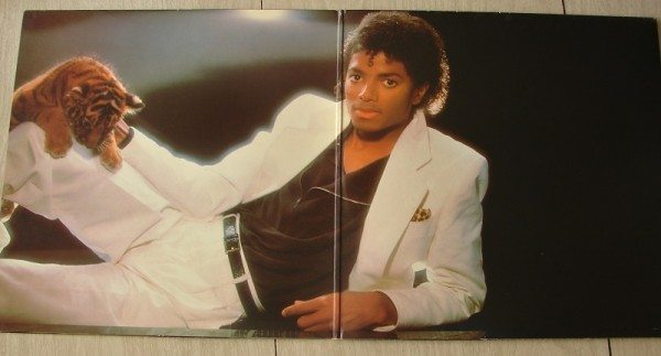 "The fold out art of Michael Jackson's ""Thriller."""