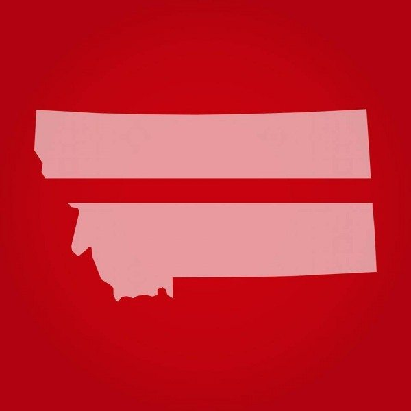 Montana drawn as an equals sign, representing marriage equality