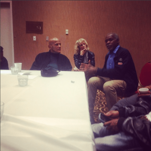 A picture of Harry Belafonte and Danny Glover in Ferguson, MO.