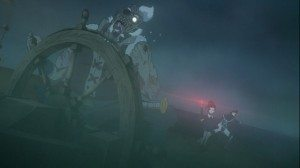 A picture of a zombie crew manning a boat.