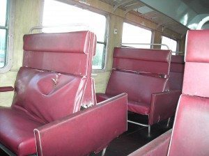 Interior of Polish-Ukrainian border train, old and dilapidated