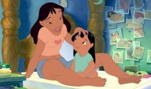 Scene from Lilo and Stitch with Nani stroking Lilo's hair