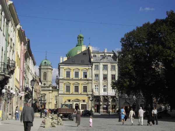 Square with museum in Lviv, Ukraine