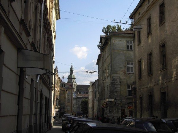 Narrow streets in the old town, Lviv, Ukraine
