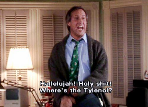 "A picture from ""Christmas Vacation"" of Clark saying ""Hallelujah! Holy shit! Where's the Tylenol?"""