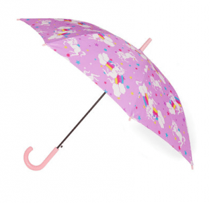 Umbrella-ella-ella covered in unicorn and rainbow print.