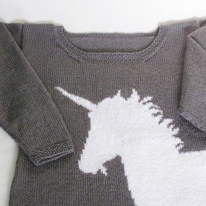 Hand-knitted sweater with unicorn