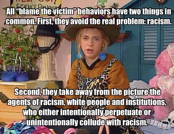"A picture from ""Clarissa Explains it All"" captioned with a discussion of racism and victim blaming."