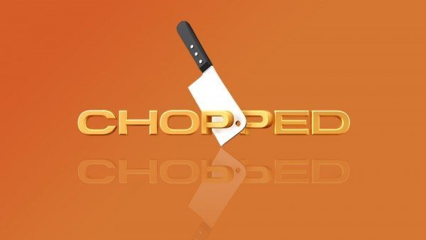 "A picture of a meat cleaver with the word ""Chopped"" on an orange background."