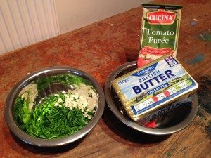 Tomato butter ingredients: chives, garlic, tomato puree, butter