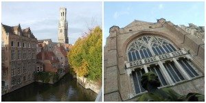 A collage of two different pictures of Bruges, Belgium.