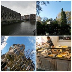 A collage of four different pictures of Ghent, Belgium.
