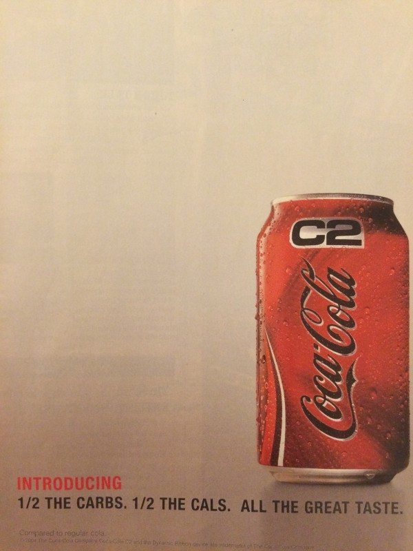 "An ad for ""C2"" from Coca-Cola."