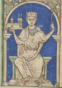 Later (13th century) illustration of King Stephen, from a manuscript held in the British Library. Image from Wikimedia Commons.