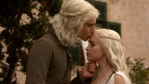 Dany and Viserys in Season One (image screencap from HBO's Game of Thrones).