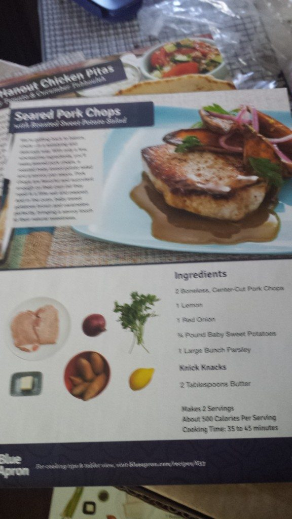 A picture of Blue Apron recipe cards.