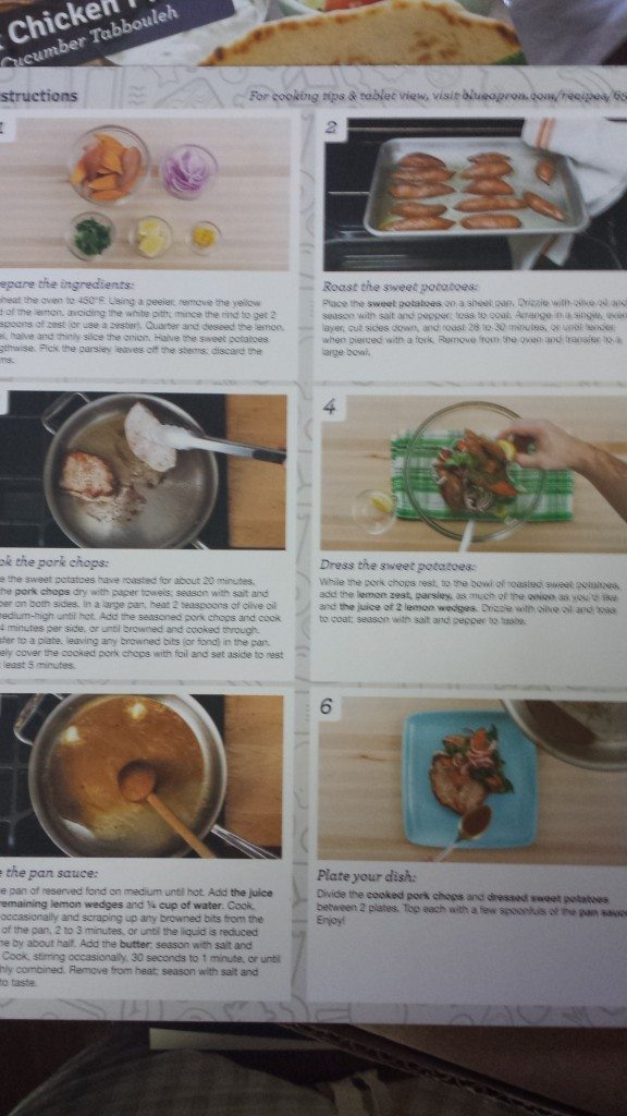 A picture of each step of a Blue Apron recipe.