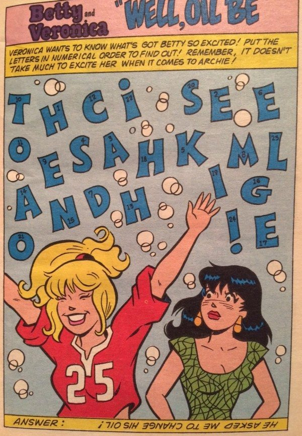A picture of a puzzle from Archie comics.