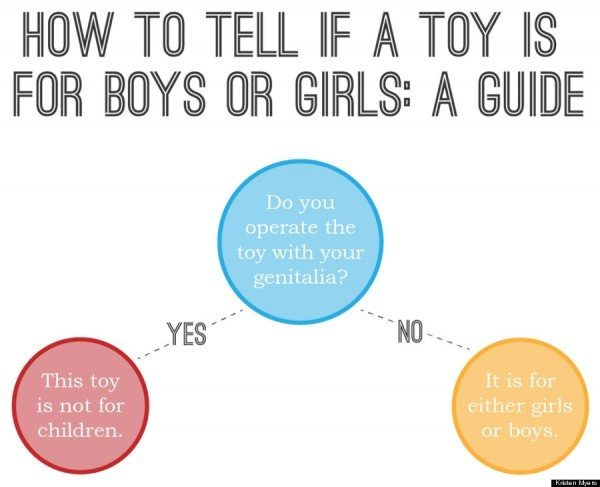 How to tell if a toy is for boys or girls: A guide. (Flowchart reads: Do you operate the toy with your genitalia? Yes - This toy is not for children. No - It is for either girls or boys.