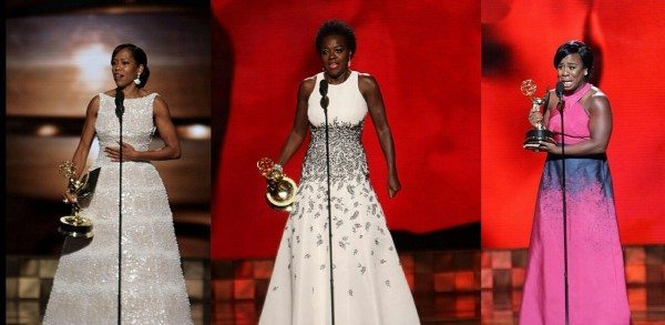 Regina King (Best Supporting Actress in a Limited Series or Movie), Viola Davis (Outstanding Actress in a Drama) and Uzo Aduba (Outstanding Supporting Actress in a Drama), accept their awards at the 2015 Primetime Emmy Awards