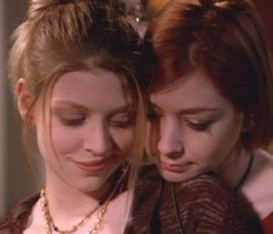 A picture of Tara and WIllow from Buffy the Vampire Slayer.